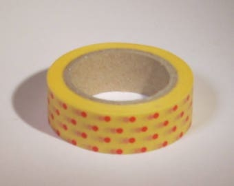 Masking tape with red polka dots and yellow 15mm x 10 m