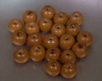 20 6mm Brown round wooden beads