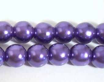 15 round Pearly purple resin beads