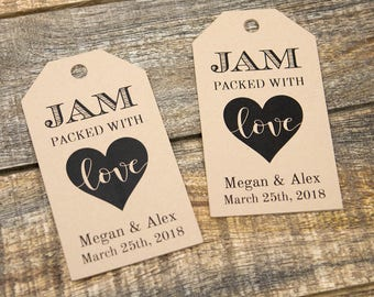 Jam packed with Love Tag - Jam Wedding Favor - Honey Wedding Favor - Spread Wedding Favor - Wedding Favor Ideas - Custom Tags - LARGE