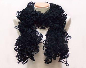 scarf black ruffles