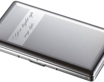 Personalized Silver Lined Sided Cigarette Case With Mirror Custom Engraved Free