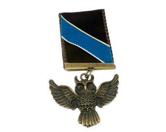 Steampunk Medal Distinguished Wisdom Award Owl Military Medal