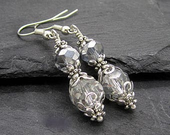 Silver Crystal Earrings, Grey Bridesmaid Jewellery, Wedding Jewellery Sets, Bridal Party Gifts, Silver Grey Wedding, Dangle Earrings