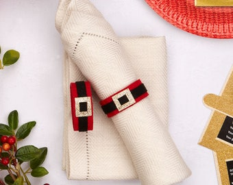 Christmas Party Table - Santa Belt Napkin Rings