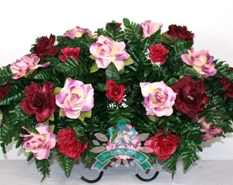 Beautiful XL Fall Roses Tombstone Headstone Saddle