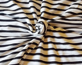 Off White Black Stripe Rayon Spandex French Terry Knit Fabric by the Yard 6/17