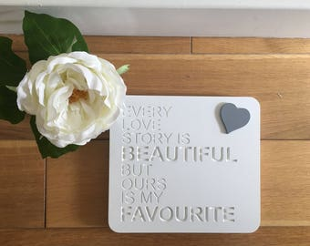 Free Standing Wooden Engraved Block/Wedding gift/engagement gift/Mr & Mrs/Every love story