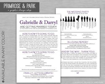 Funny Wedding Program Printed // Silhouette Wedding Program // Printed Wedding Program
