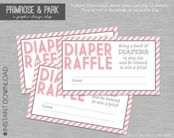 Diaper Raffle Cards Printable // Diaper Raffle Insert // Baby Shower Invitation Insert // Printable Digital File