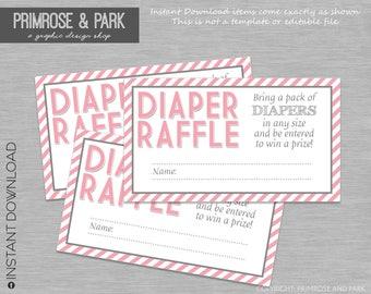 Diaper Raffle Tickets • Diaper Raffle Insert • Baby Shower Invitation Insert • Instant Download