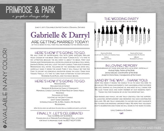 Funny Wedding Program Printable Silhouette
