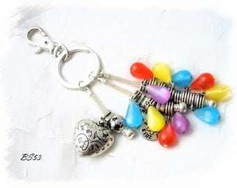 large multicolor bag BS53 silver heart charm