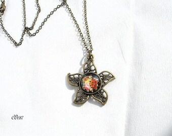 vintage flowers CO687 Locket necklace