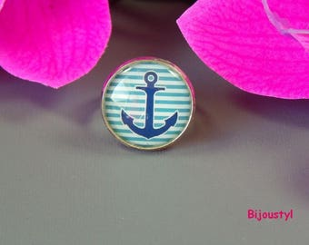 Ring - 20 mm glass Cabochon - blue-green striped anchor