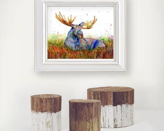 Moose Spirit Animal Totem art print by Ellen Brenneman