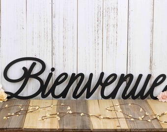 Bienvenue Script Welcome Metal Sign - Black, 22x5.5, French Welcome, Wall Decor, Welcome, Plaque, Outdoor Sign