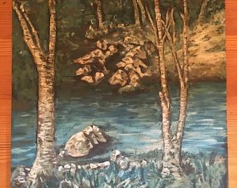 Vintage oil painting landscape