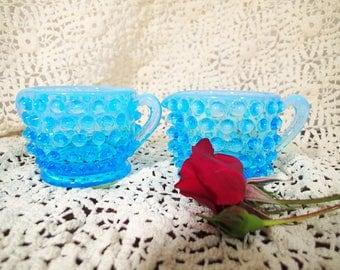 Fenton Opalescent Blue Individual Sugar and Creamer, Vintage Fenton Art Glass produced 1939 - 1955