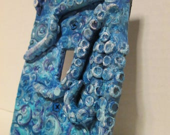 Light switch coverOctopus, modern design, Light switch,  painted, custom colors, tentacles, single light switch