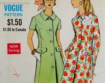 "Vintage Mod Coatdress, Short or Long Sleeves, Front Button, Flap Pockets Vogue 7738 Sewing Pattern Miss Size 14.5 Bust 37"" UNCUT"