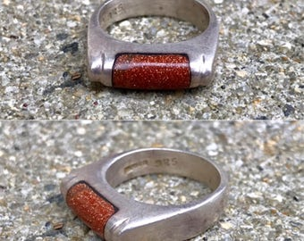 sterling silver goldstone thick band Mexico vintage ring size 7.25
