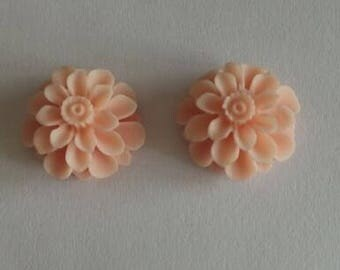 12 pcs of resin flower cabochon20mm-0031--24-Soft pink