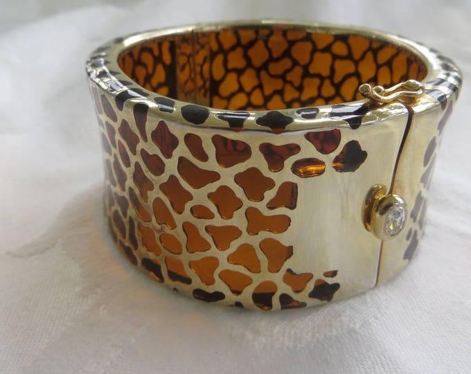 Vintage KJL Lucite Leopard Cuff Bracelet, Animal Print Hinged Bangle Bracelet, Designer Kenneth Lane Jewelry