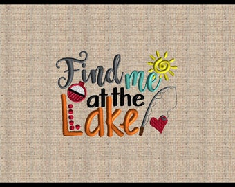 Find me at the Lake  Embroidery Design Machine Embroidery Design Heart Embroidery Design Fishing Pole Bobber Embroidery Design 4x6 5x7