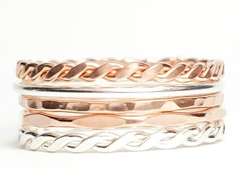 Thin Stacking Rings Rose Gold and Sterling Silver- Set of 5