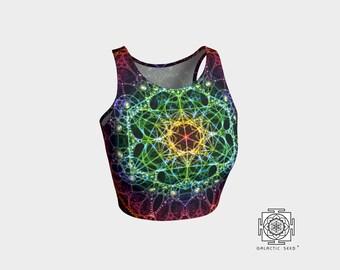Flower of life Crop top , Boho crop top , rainbow , summer crop top , hippie crop top, activewear crop top , Sacred geometry , top