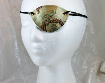 Champagne Eye Patch, Pale Gold Satin Chinese Pattern Brocade Pirate Eye Patch
