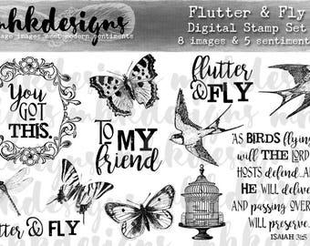 Flutter & Fly Digital Stamp Set