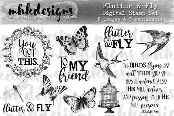 Flutter & Fly Digital Stamp Set