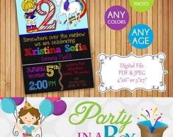 Rainbow Brite Invitation DIY Printable Digital File