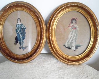 "Vintage Needlepoint  Blue Boy and Pinkie in heavy gilded oval frames  Classic art work  13"" x 11"" handmade Pinkie and Blue Boy needlework"