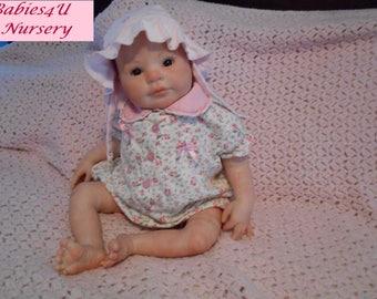 """Reborn Baby Girl 22"""" 7 lbs 3 oz Brown Eyes, Painted Hair, Lifelike, Realistic,  Holly by Donna Rubert, Reborn by Babies4U Nursery"""