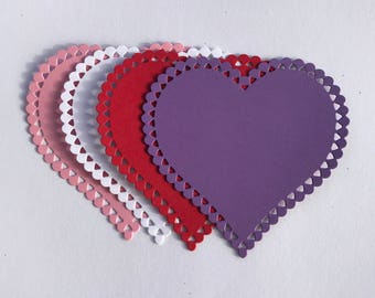 Valentine Heart Die cuts Set of 10  Choose your colors!