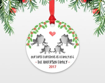 New Baby Christmas Ornament Christmas Family Ornament New Parents Our First Christmas as a Family of Four 4 Frog Personalized Ornament