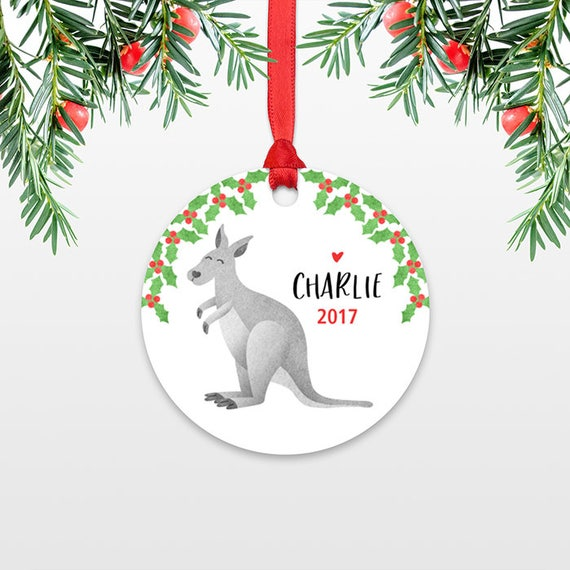 Kids Christmas Ornament Personalized Christmas Name Ornament Kids Stocking Stuffer for Girls Stocking Stuffer for Boys Kangaroo Ornament