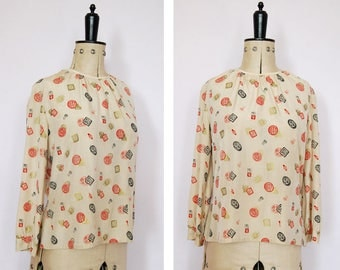 Vintage 1950s Chinoiserie Chinese Japanese cream silk blouse - Japanese / Chinese top - Asian top - Oriental top - Silk blouse - Silk top