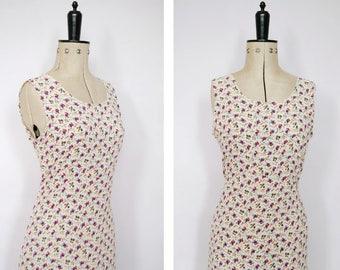 Vintage 1990s white floral dress - 90s dress - 90s grunge dress - 90s floral maxi dress - 90s tank dress - 90s sleeveless dress