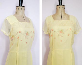 Vintage 1950s yellow hand painted floral dress - 50s fit and flare dress - 50s full skirt dress - 50s prom dress - 1950s watercolour dress
