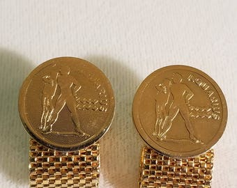 AQUARIUS Zodiac DANTE Cuff Links w Gold Finish
