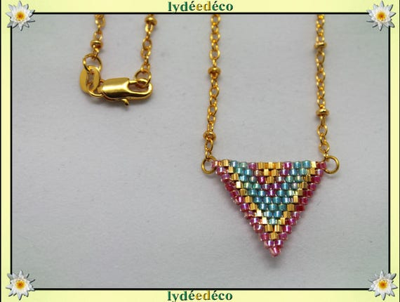 Necklace plated 18 k rose green triangle beads ball chain chevron weaving