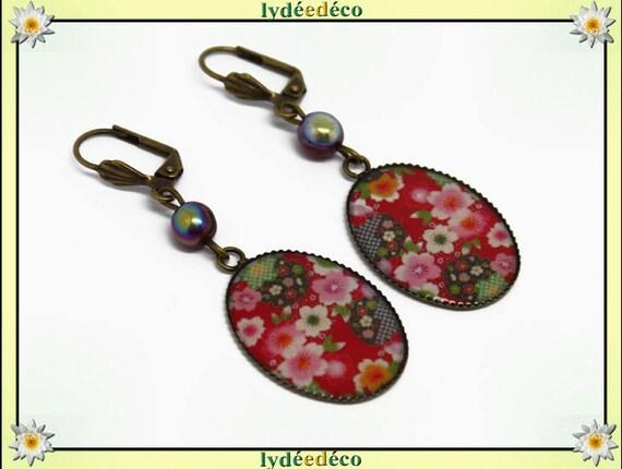 Retro earrings sakura resin flower Japan red white green resin brass cabochon beads 18 x 25mm
