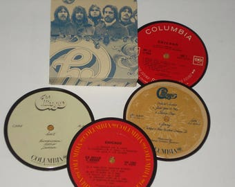 CHICAGO Record Coasters, Classic Rock vinyl record coasters for drinks