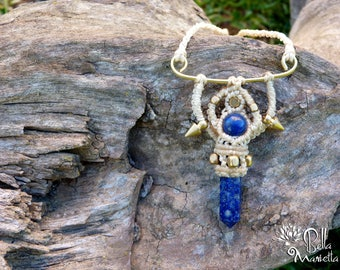 New Collection. Tribal steampunk macrame necklace with natural Lapis Lazuli crystal point