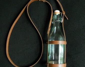 Steampunk Leather Water Bottle Carrier, Bottle Holster Leather, Vintage Glass Bottle, Cosplay LARP