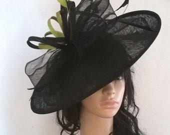 Black & Lime  large Hatinator Sinamay and feathers on a Headband...bag seperate purchase